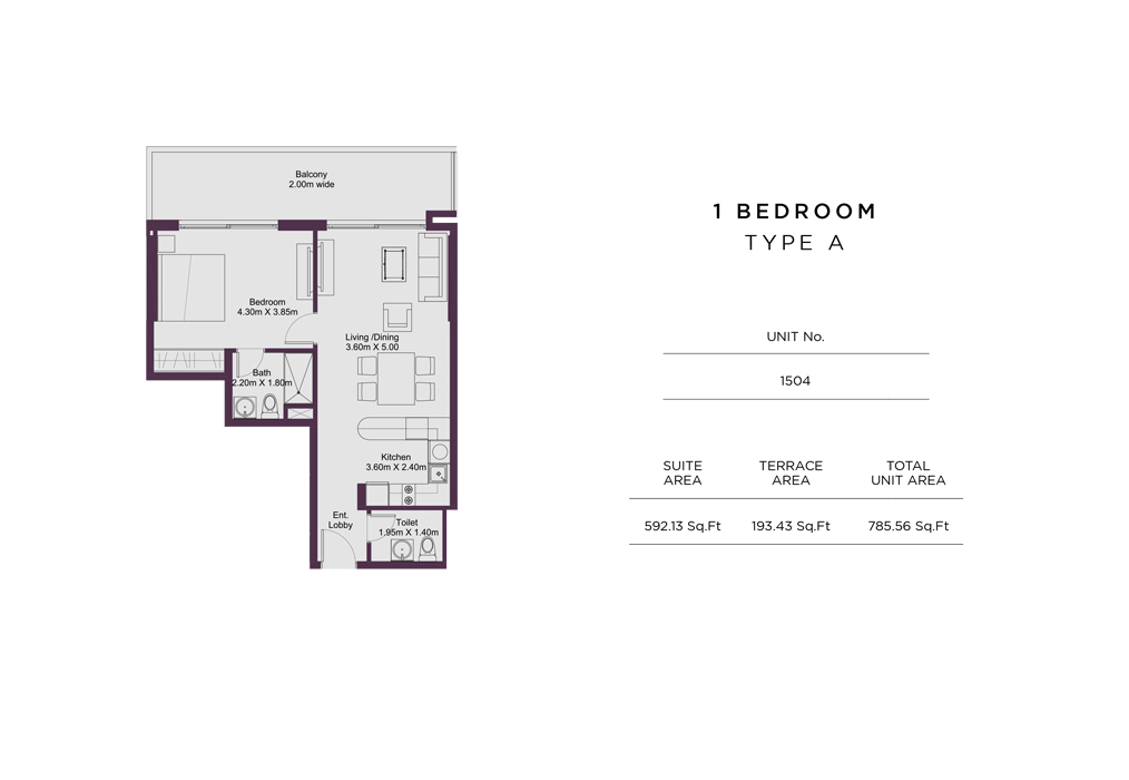1 Bedroom Type A, Unit 1504, Size 785 Sq Ft