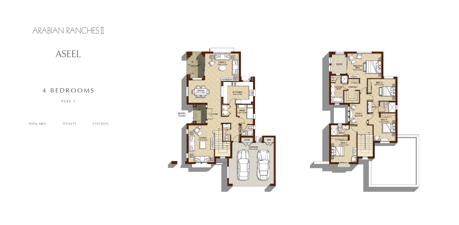 4 Bed - Type 1, Size 3434 Sq Ft
