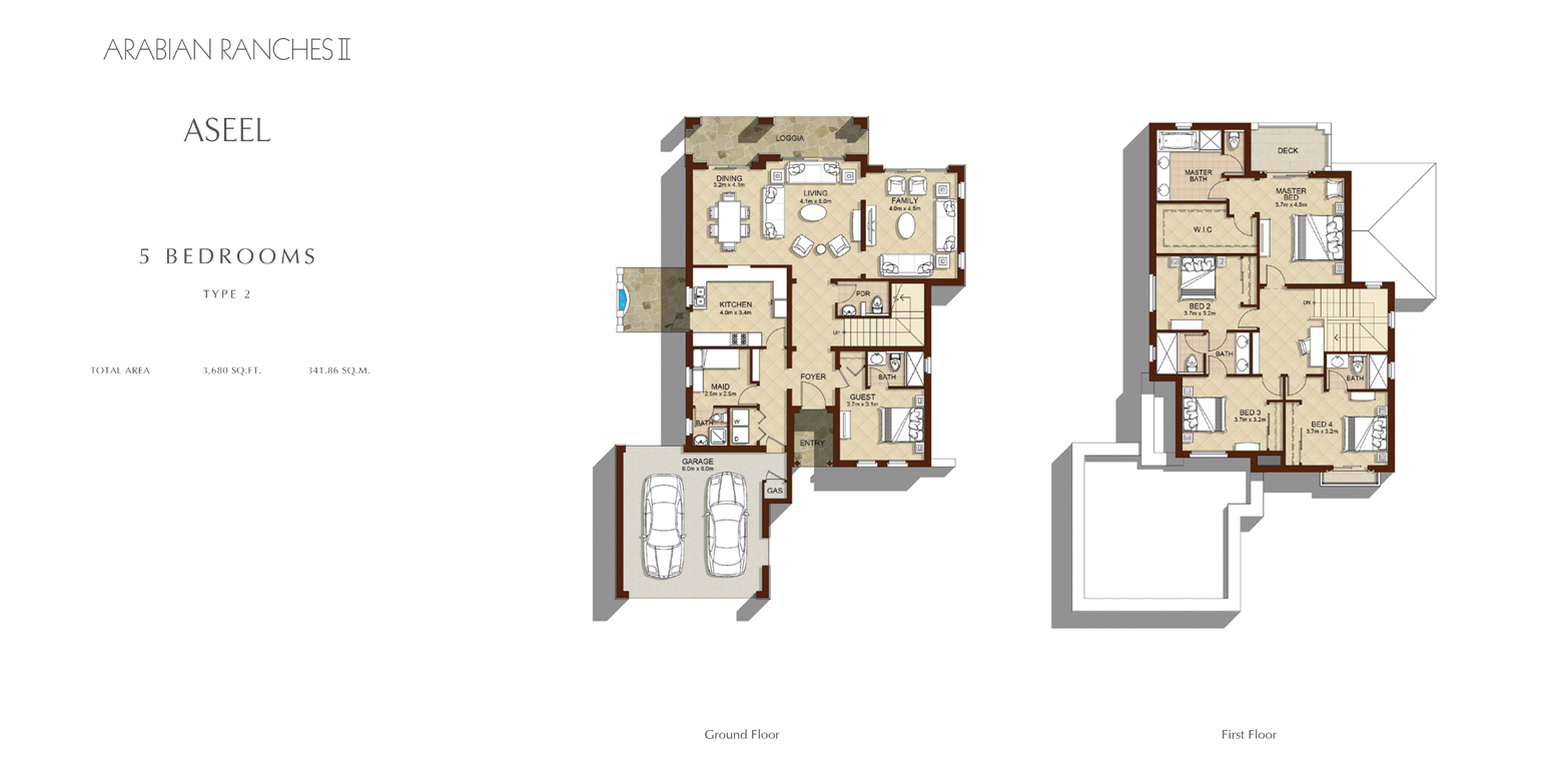 5 Bed - Type 2, Size 3680 Sq Ft