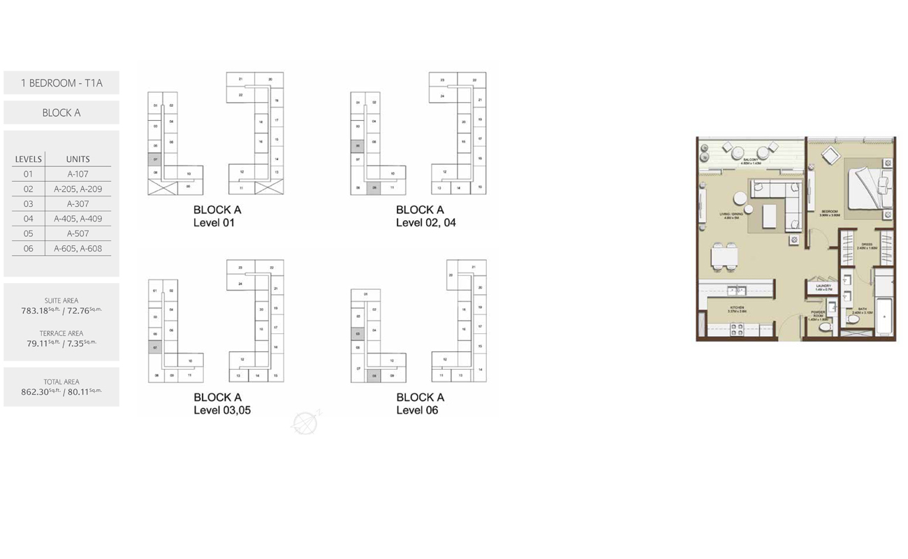 1 Bed-T1A-Block-A, Size-862.30 sq.ft