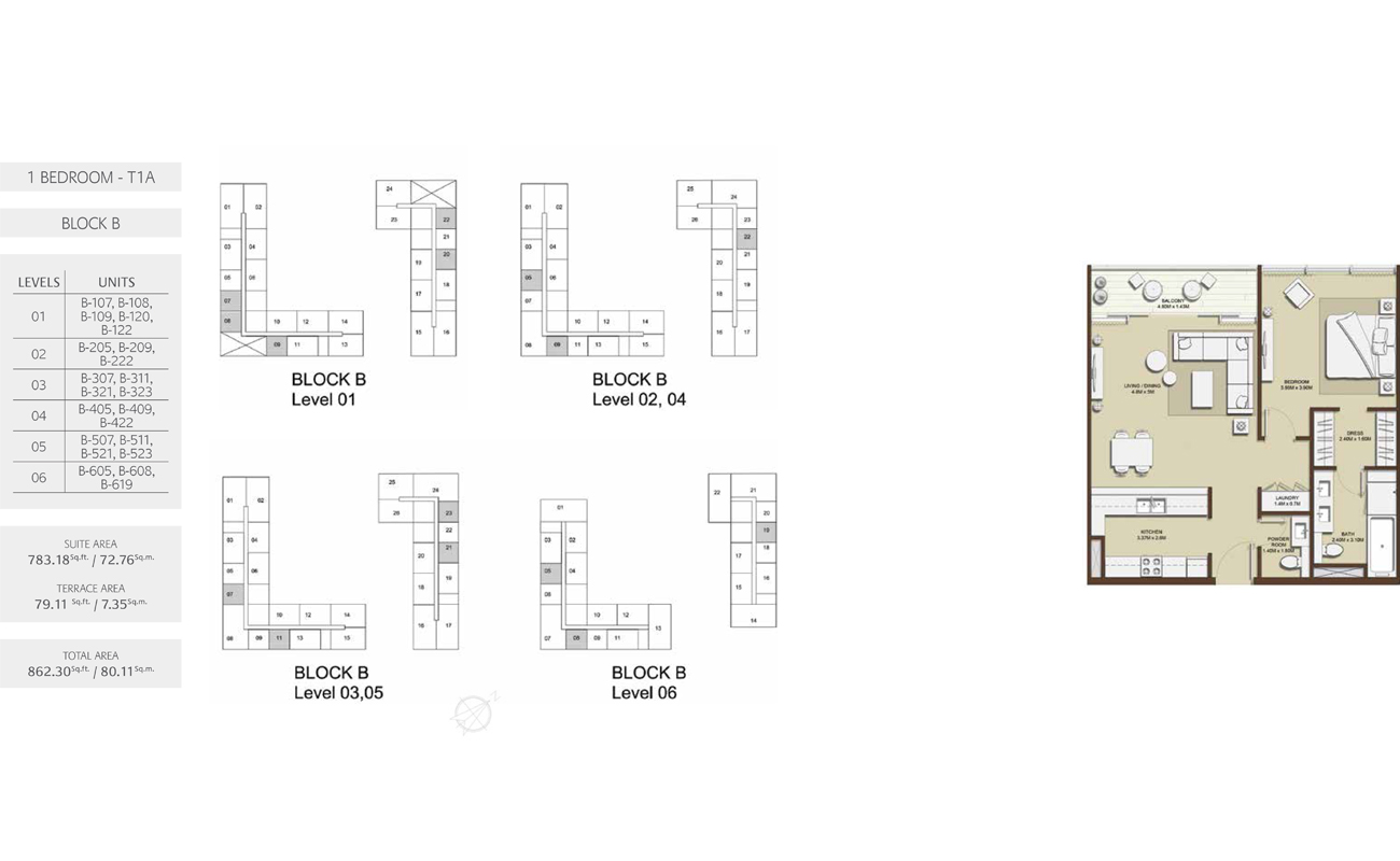1 Bed-T1A-Block-B, Size-862.30 sq.ft