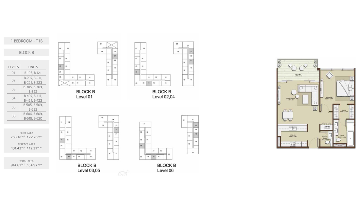 1 Bed-T1A-Block-B, Size-914.60 sq.ft