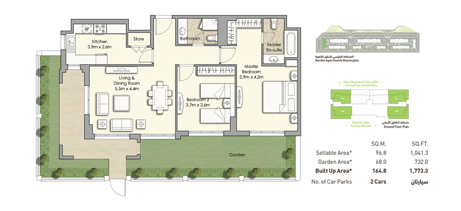 2-Bedroom-Building-A, Size-1,773.3 sq.ft