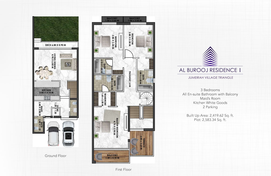 3 Bedroom + Maid - Build Up 2419.62 Plot Area Size 2583.34 sq.ft