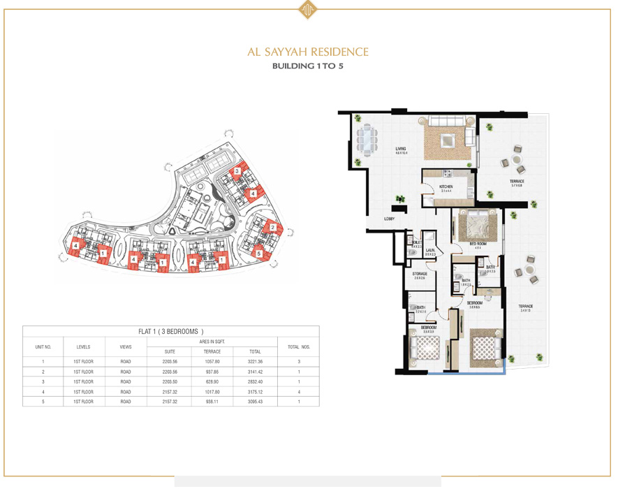 3 Bedroom building 1 to 5, Size 2832 sq ft
