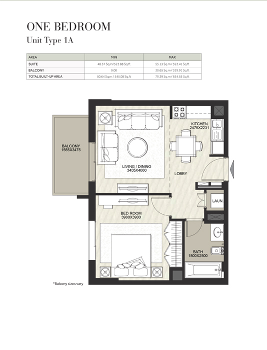 1 Bedroom, Unit Type 1A, Size 545 Sq Ft