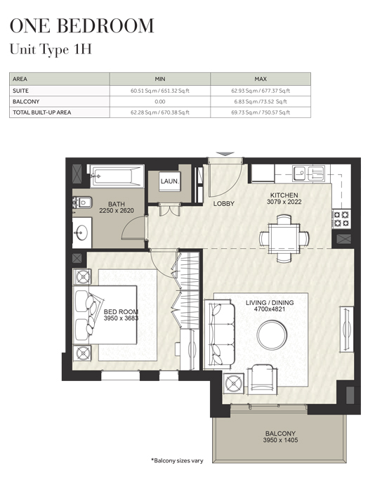 1 Bedroom, Unit Type 1H, Size 670 Sq Ft
