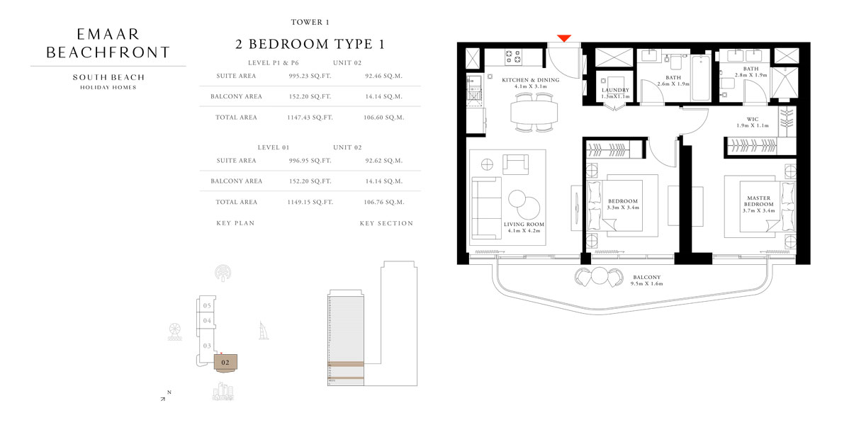 Tower-1,-Type-1,-2-Bed,-Size-1149.15-sq.ft