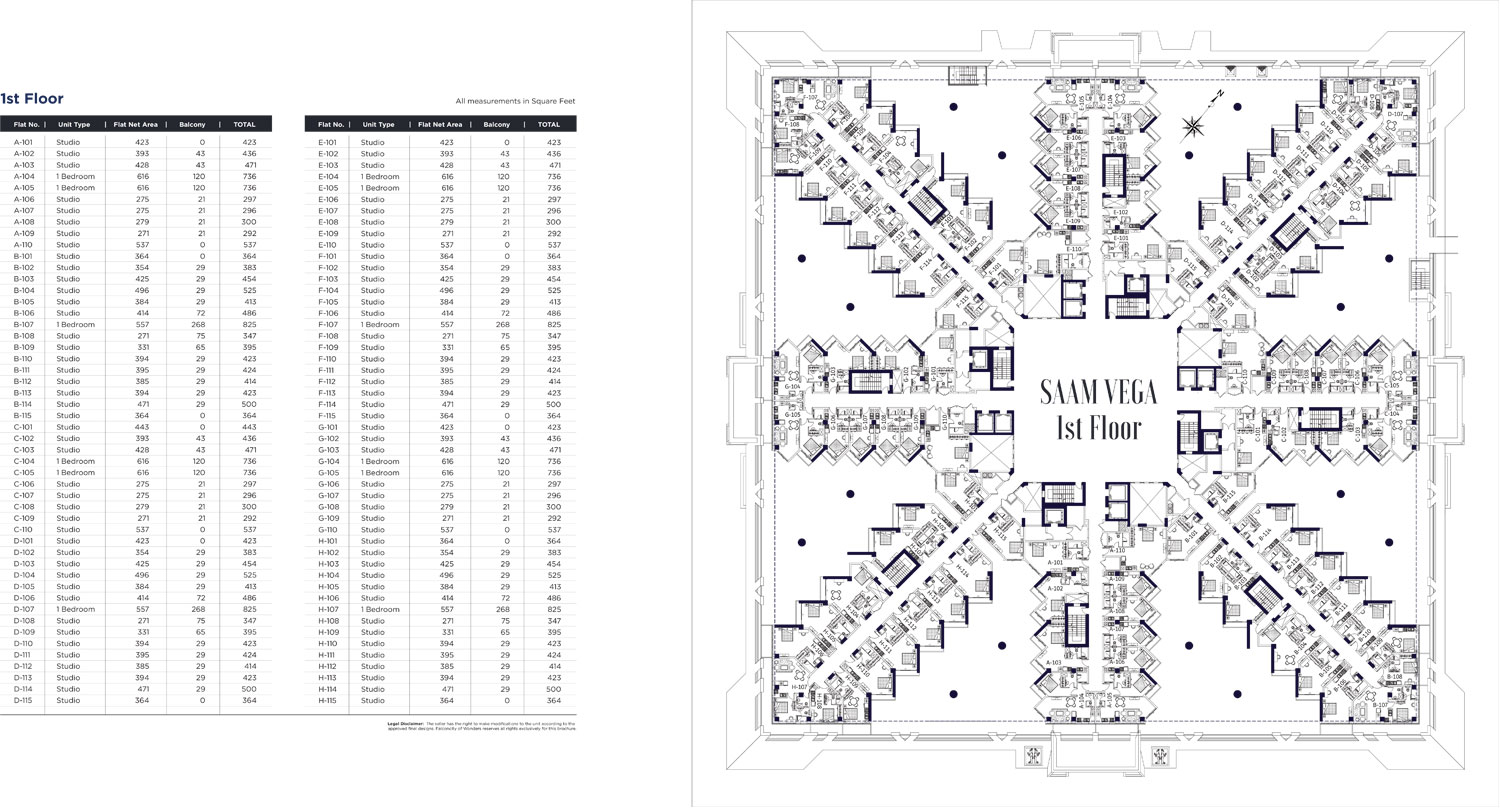 1st Floor - A101 - H115, Sizes: 292 - 825 Sq. ft.