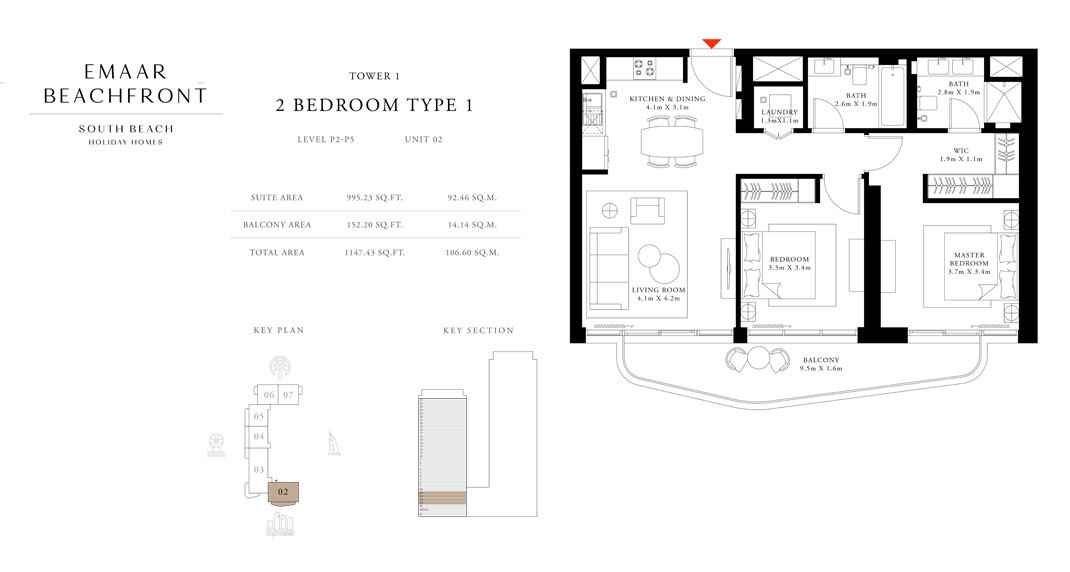 Tower-1,-Type-1,-2-Bed,-Size-1147.43-sq.ft