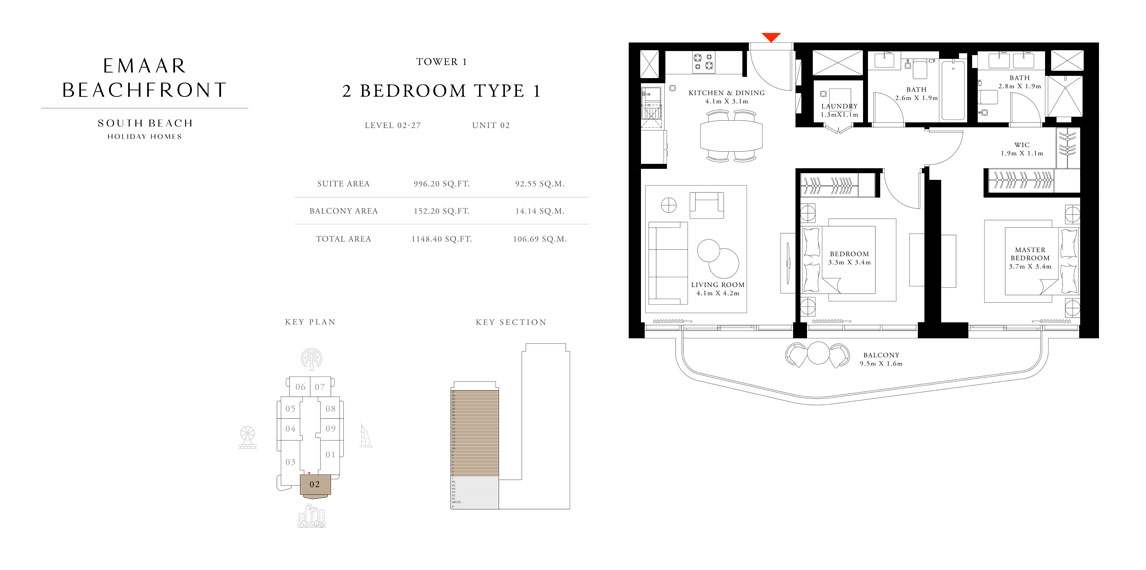 Tower-1,-Type-1,-2-Bed,-Size-1148.40-sq.ft