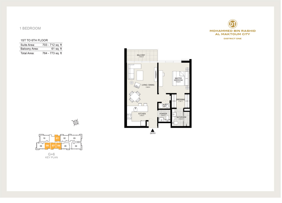 1 Bedroom, 1st to 6th Floor, Size 773 sq ft