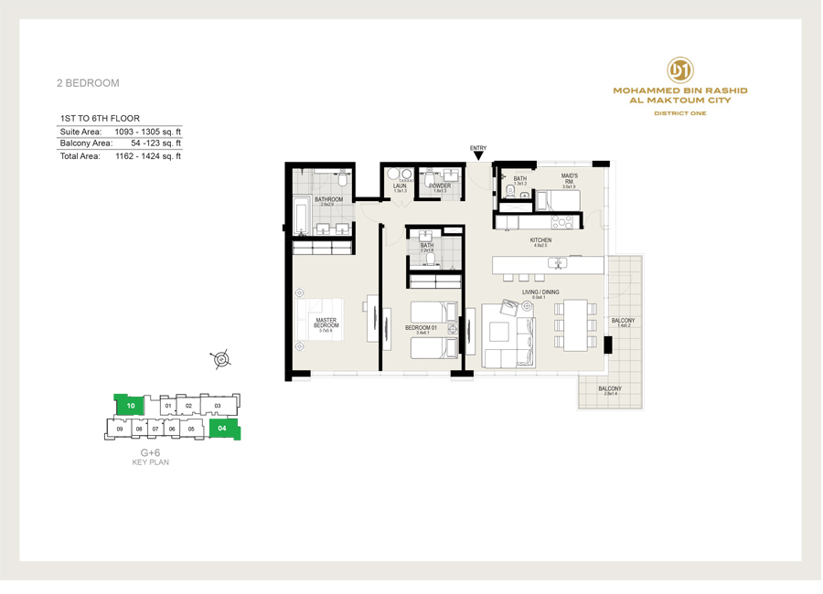 2 Bedroom, 1st to 6th Floor, Size 1424 sq ft
