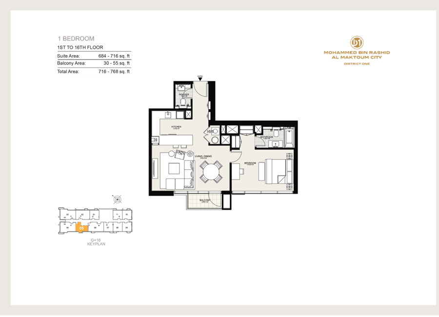 1 Bedroom, 1st to 16th Floor 05, Size 768 sq ft