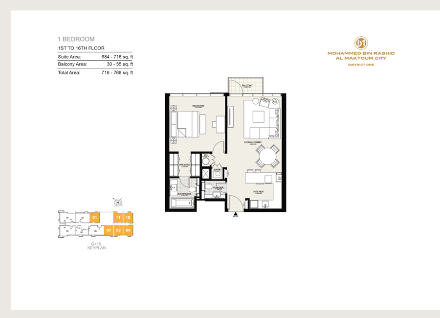 1 Bedroom, 1st to 16th Floor, Size 768 sq ft