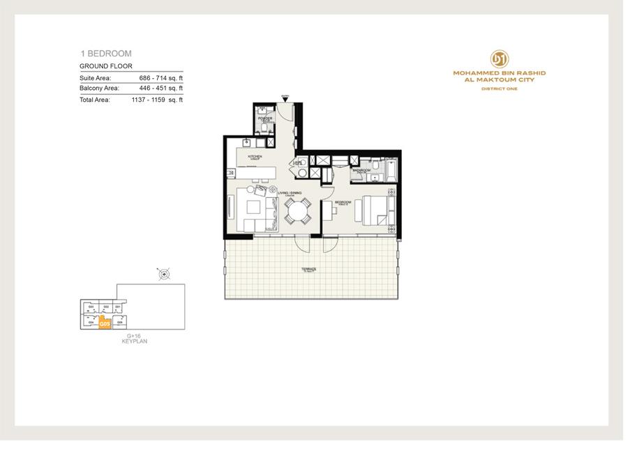 1 Bedroom, Ground Floor G05, Size 1159 sq ft