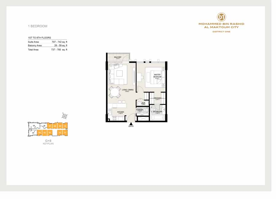 1 Bedroom, 1st to 8th Floor, Sizes 737 sq ft