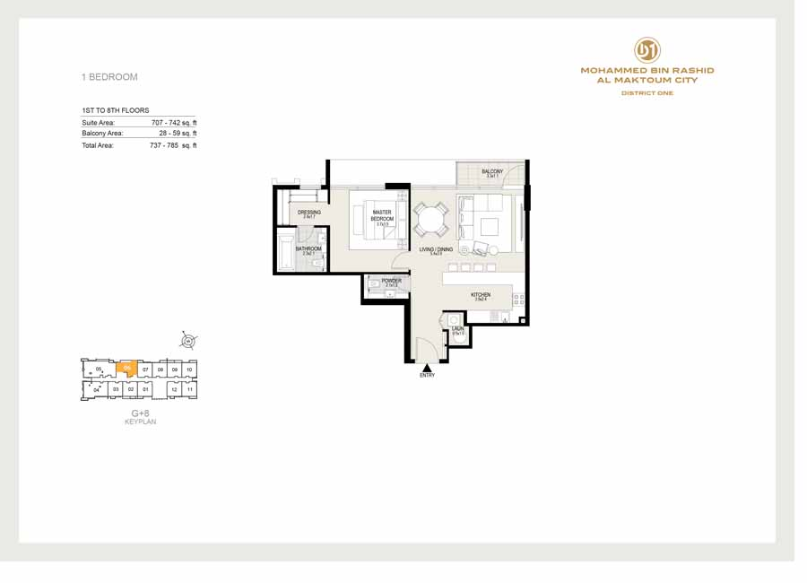 1 Bedroom, 1st to 8th Floor, Sizes 785 sq ft