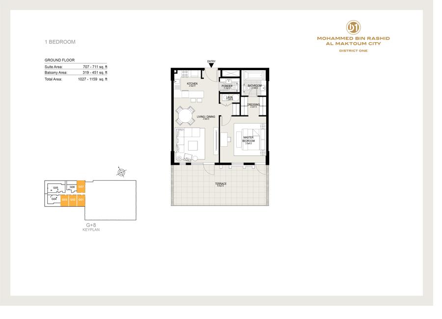 1 Bedroom, Ground Floor, Sizes 1027 sq ft