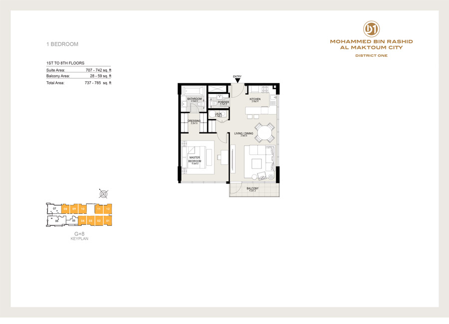 1 Bedroom, 1st to 8th Floor 1-4, 8-12, Size 785 sq ft