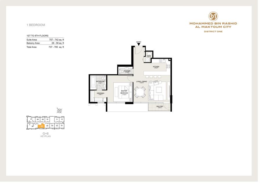 1 Bedroom, 1st to 8th Floor, 785 sq ft