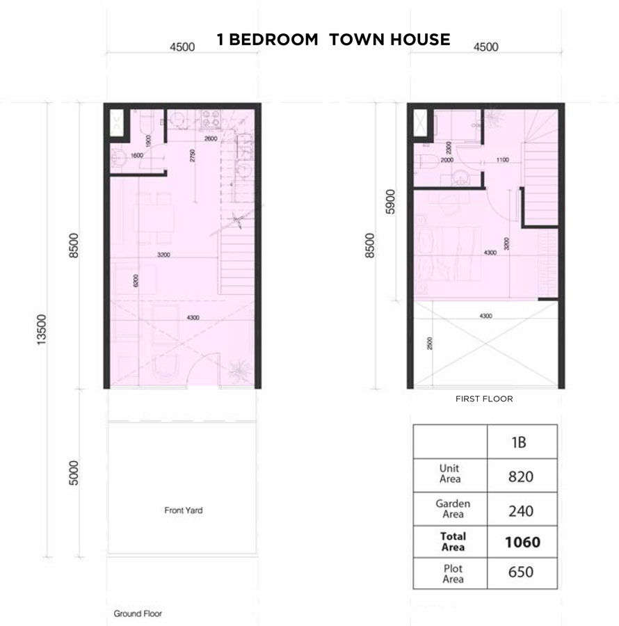 Town-Houses,-1-Bed,-Size-1060-sq.ft