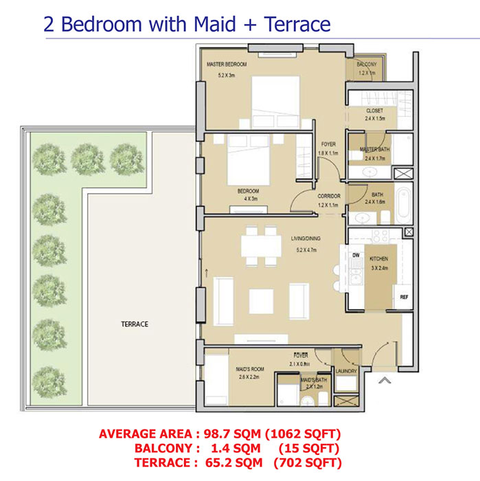 2 Bedroom With Maid+Tarrace