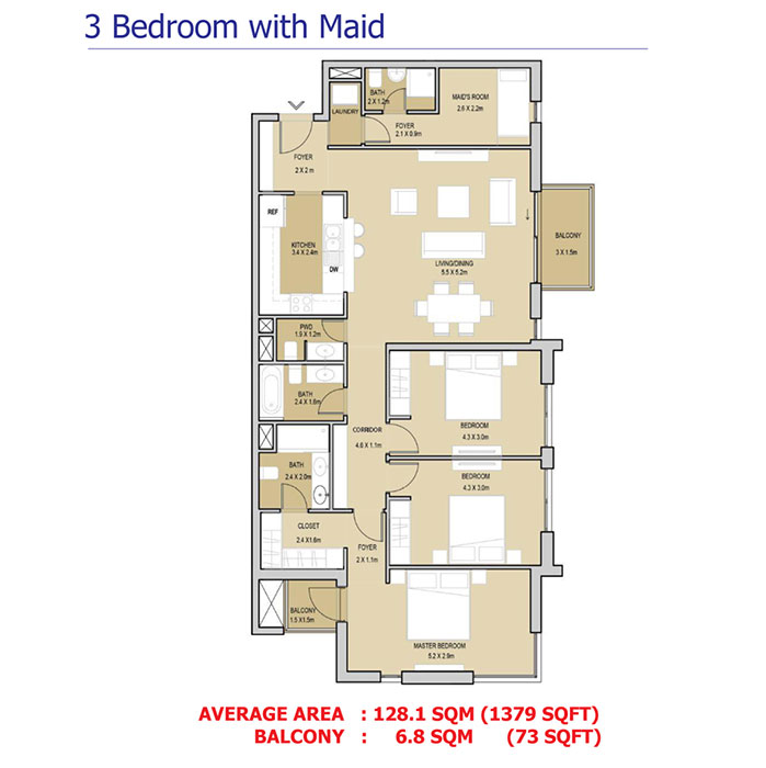 3 Bedroom With Maid