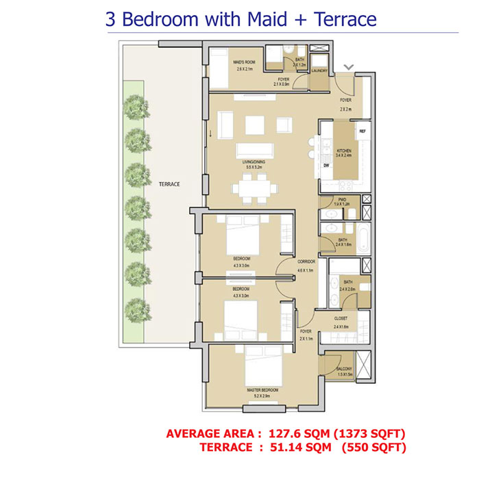 3 Bedroom With Maid+Terrace