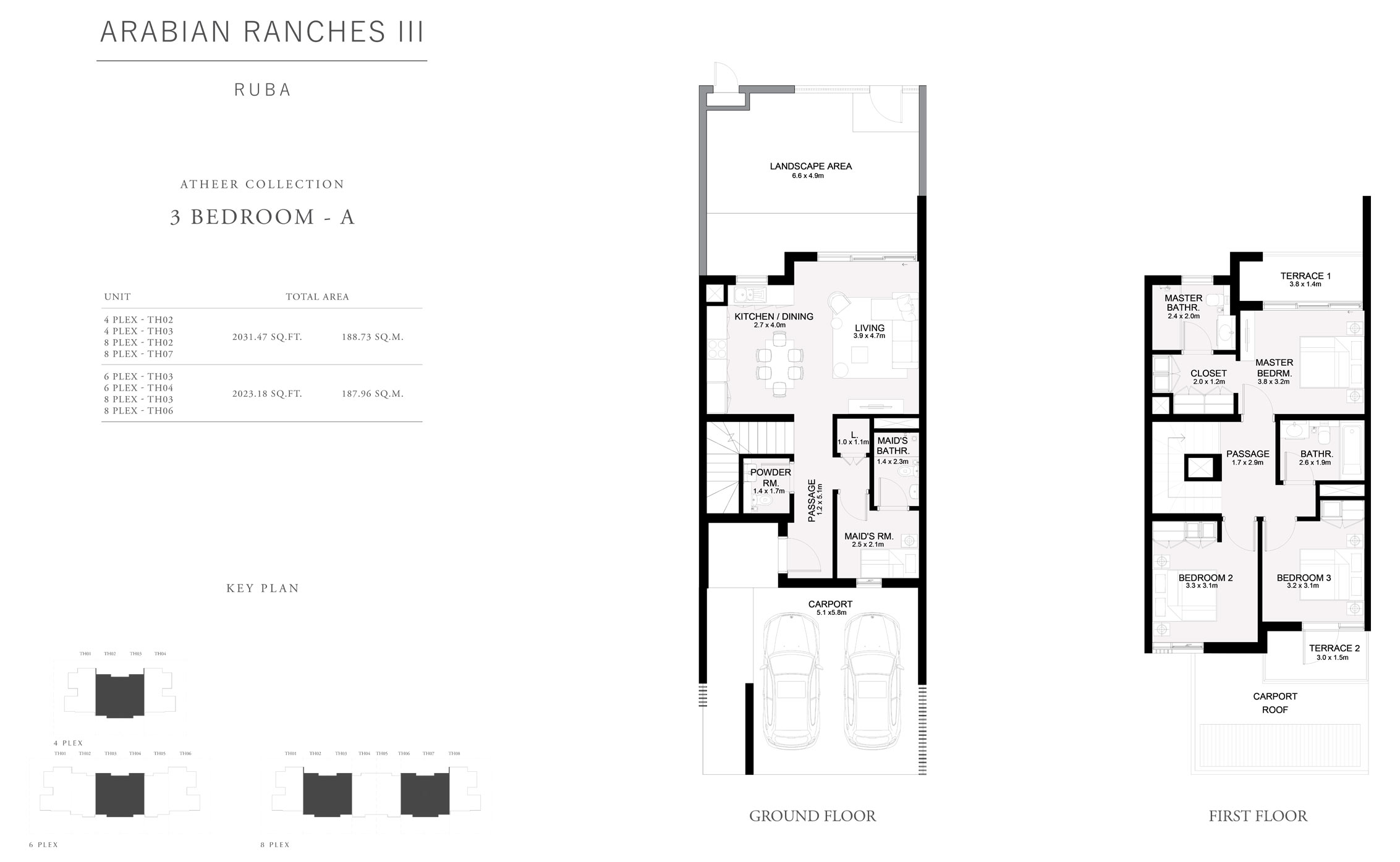 Atheer Collection 3 Bedroom A, Size 2023 Sq Ft