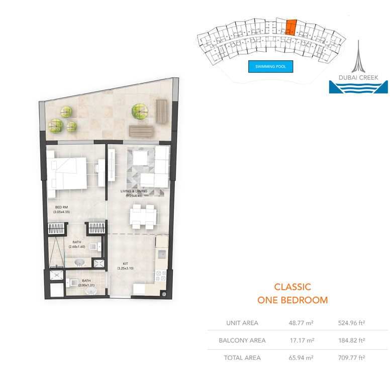 1-Bedroom, Classic, Size-709.77 sq.ft