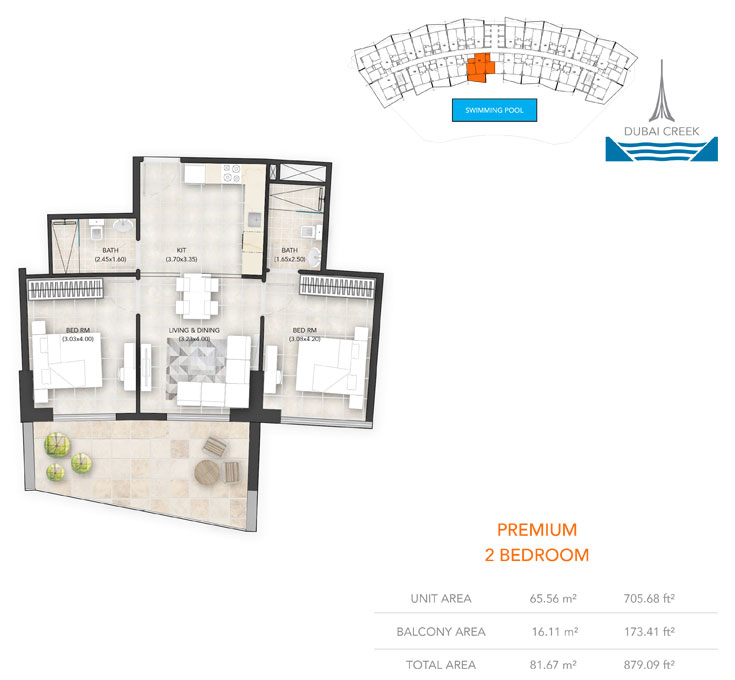 2-Bedroom, Premium, Size-879.09 sq.ft