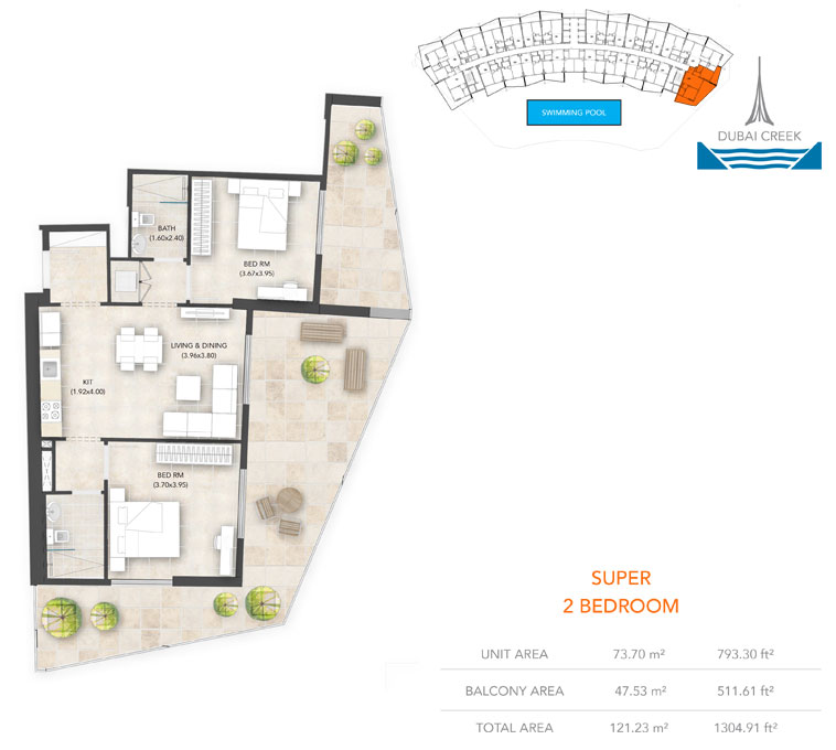 2-Bedroom, Super, Size-1304.91 sq.ft