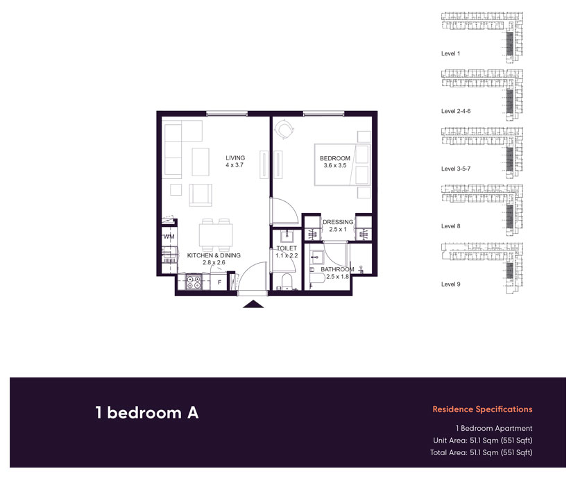 1 Bedroom -A,-Residences-Specification,-Size-551-sq.ft
