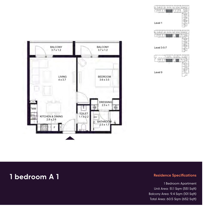 1 Bedroom -A1,-Residences-Specification,-Size-652-sq.ft