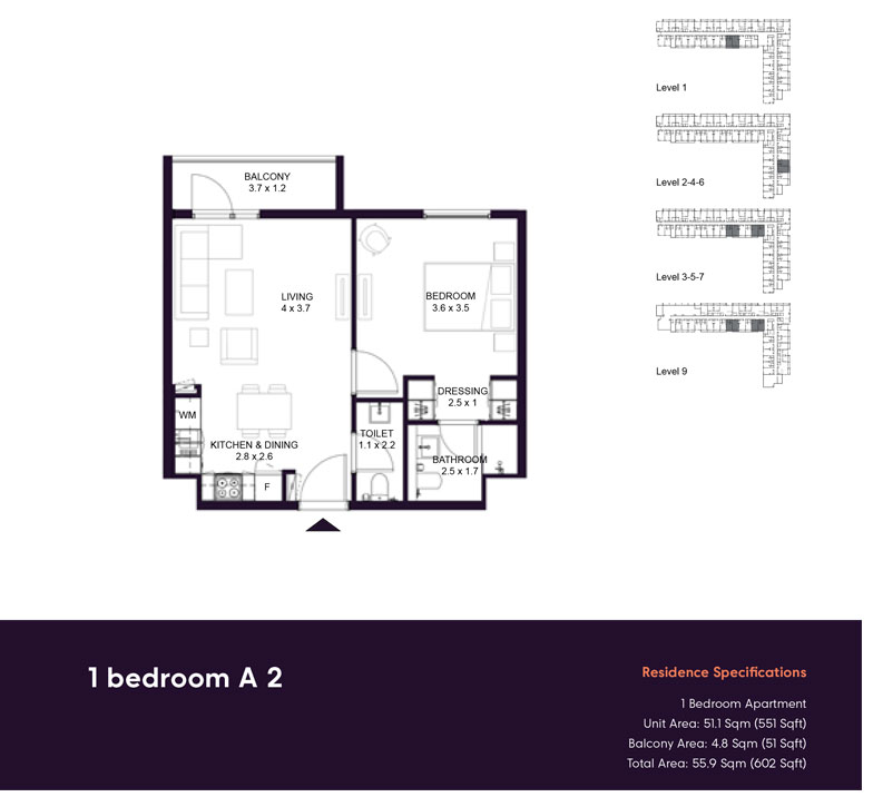 1 Bedroom -A2,-Residences-Specification,-Size-602-sq.ft