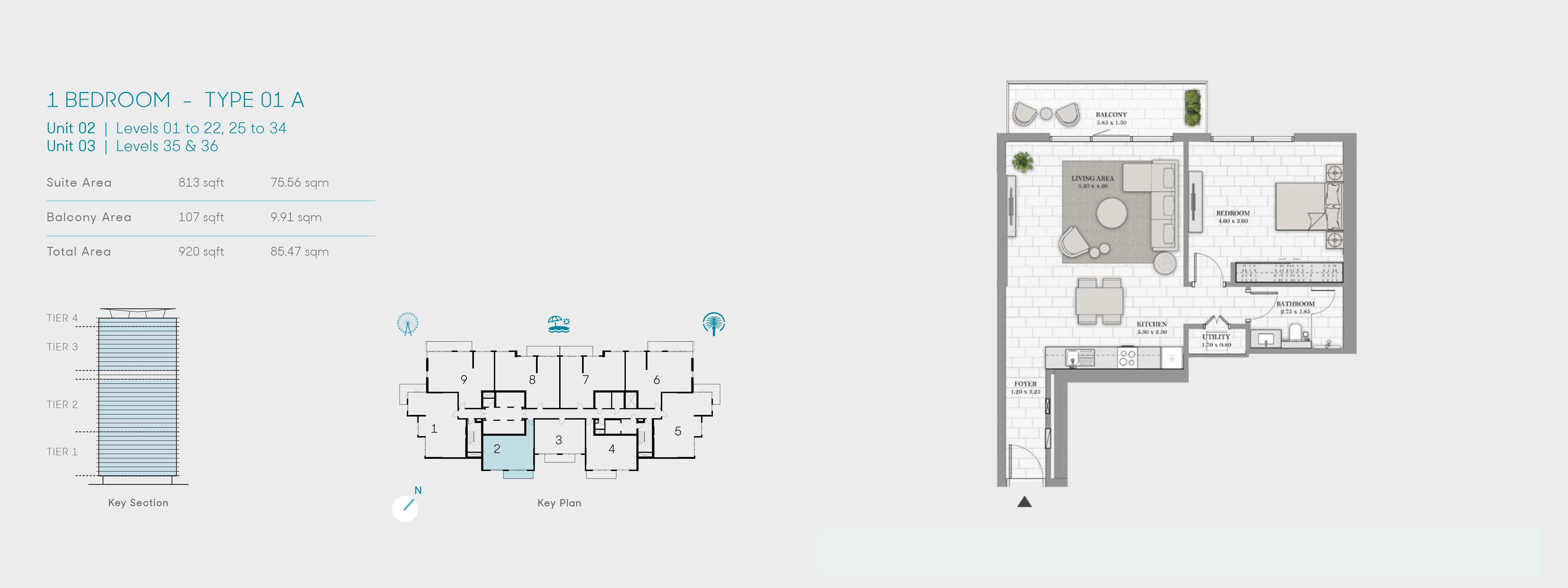 1 Bedroom-Type 01 A, Size 920 Sq Ft