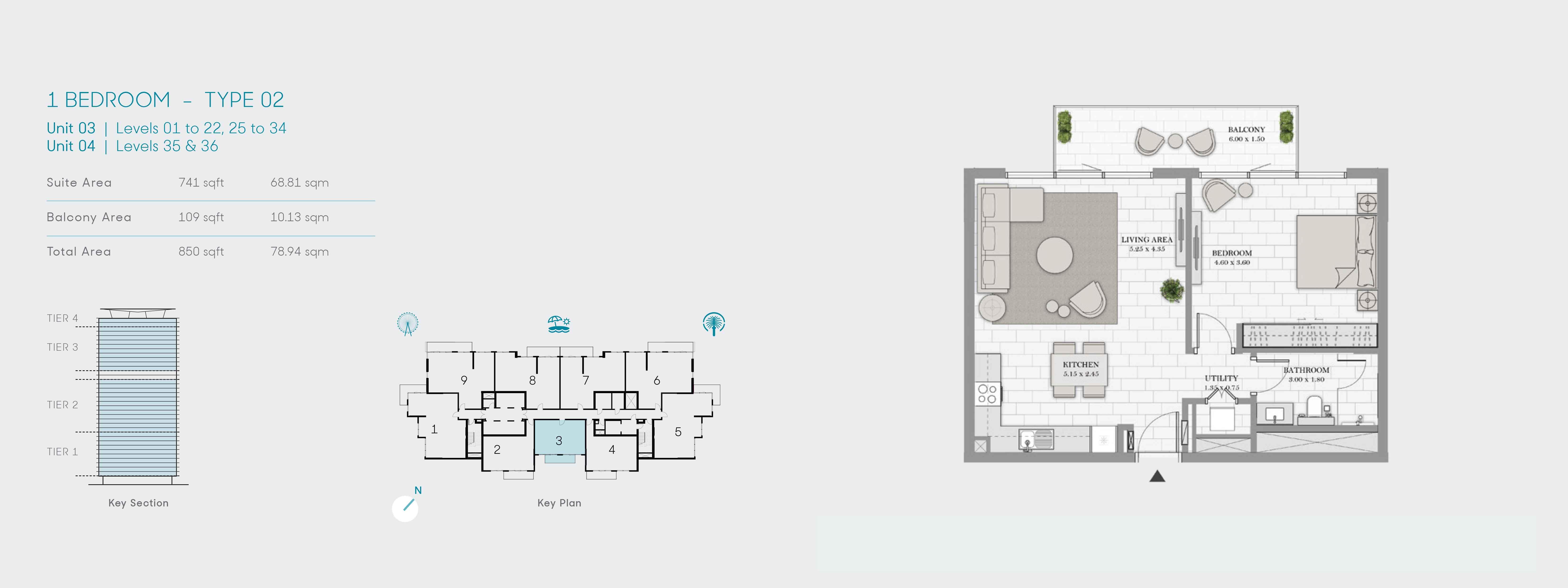1 Bedroom-Type 02, Size 850 Sq Ft