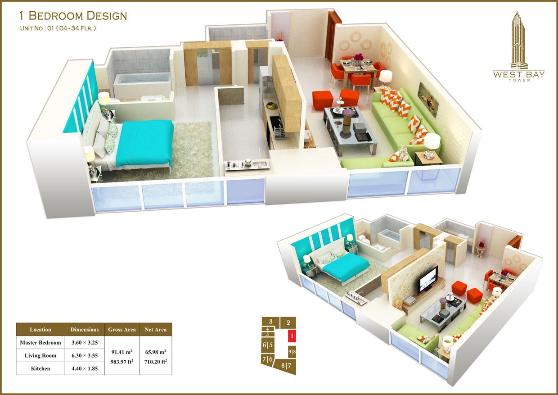 1 Bedroom Unit 01, Size 983 sq ft