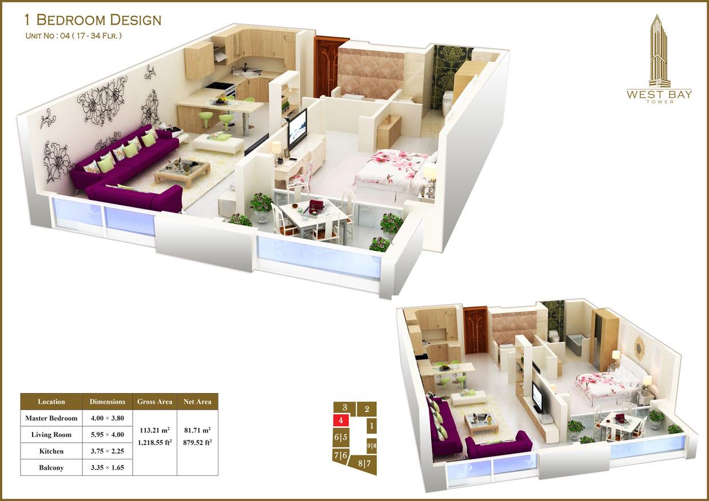1 Bedroom Unit 04, Size 1218 sq ft