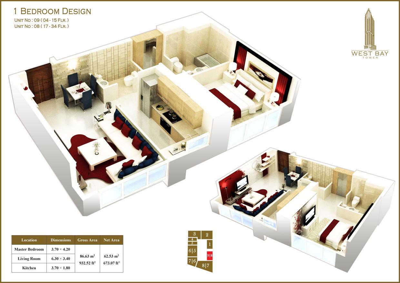 1 Bedroom Unit 08, 09, Size 932 sq ft