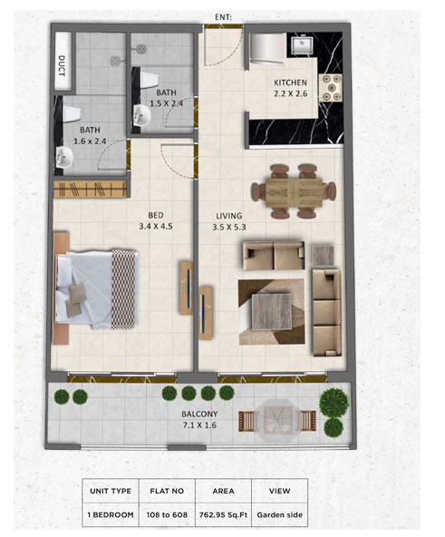 1 Bedroom, Flat-no-108-608, Size-762.95 sq.ft