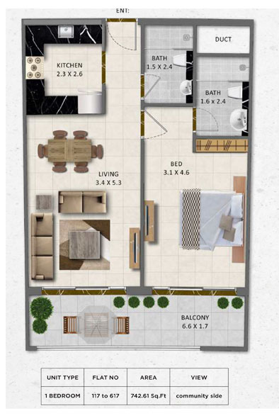 1-Bedroom, Flat-no-117-617, Size-742.61 sq.ft