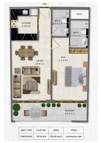 1-Bedroom, Flat-no-118-618, Size-742.61 sq.ft