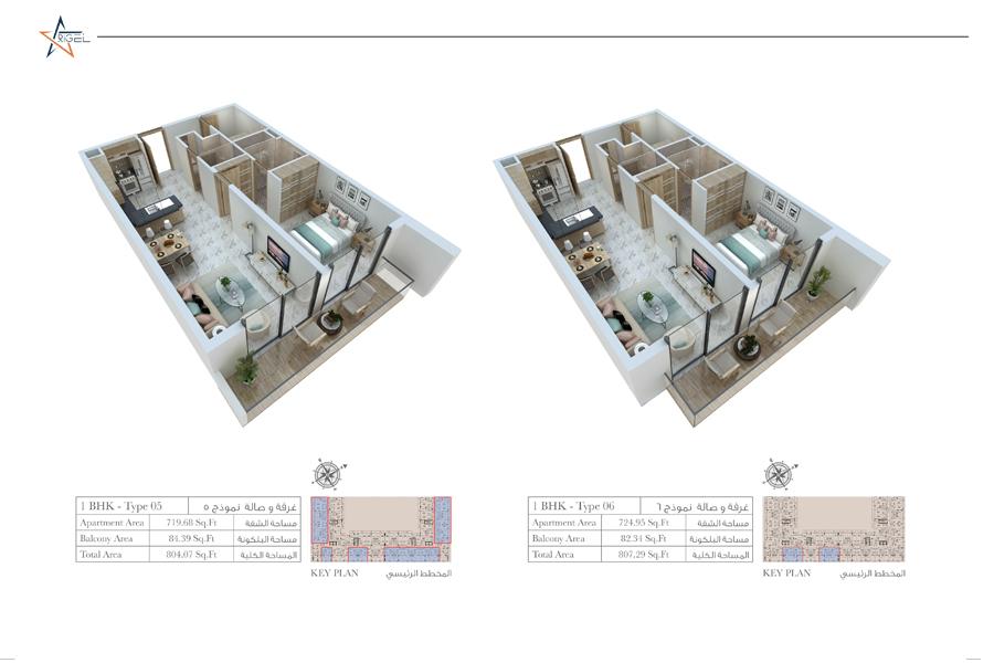 1 Bedroom- Type 05-06, Size 804 Sq Ft