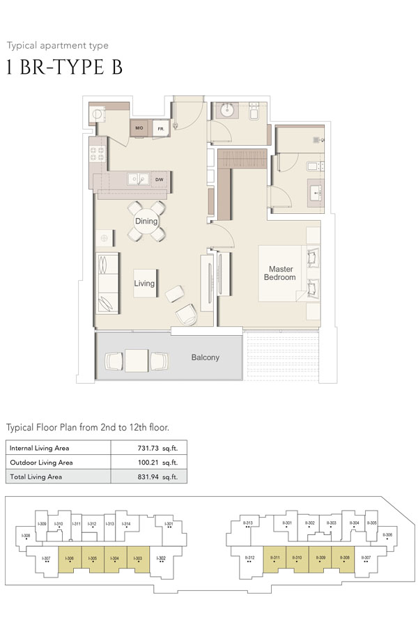 1 Bedroom-Type B, Size 831 Sq Ft