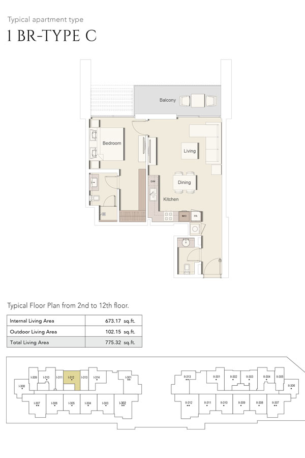 1 Bedroom-Type C, Size 775 Sq Ft
