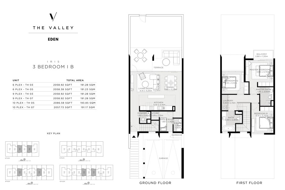 Iris, 3-Bedroom , I-B, Size-2058.92-sq.ft