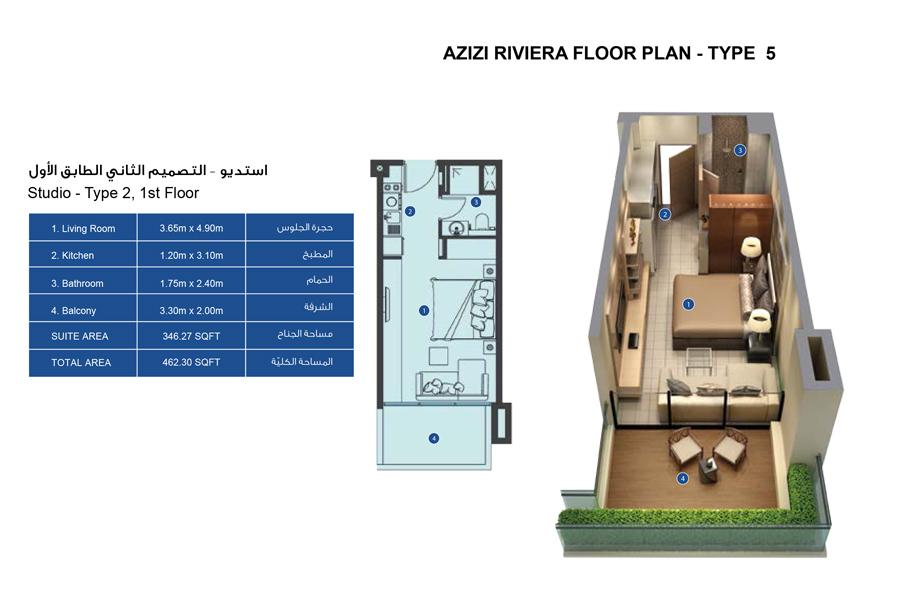STUDIO Type 2, First Floor
