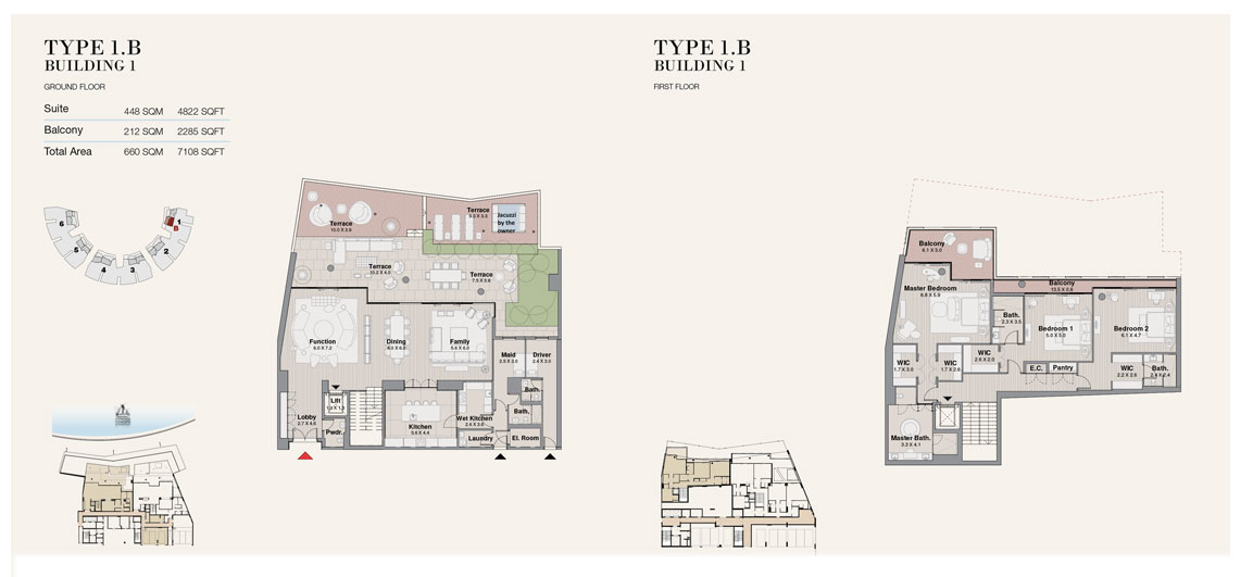 Type 1B, Building 1, Size 7108 sq.ft